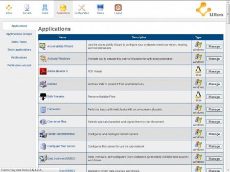 Ulteo - administrace aplikací