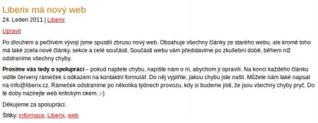 Vzhled stránky na webu Liberix.cz