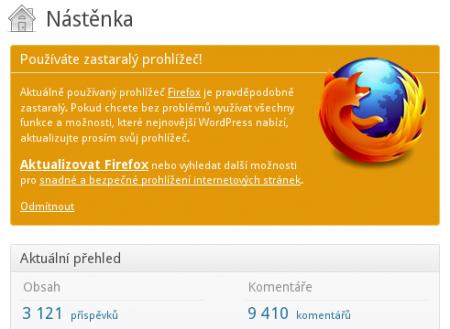 WordPress tvrdí, že máte starý Firefox