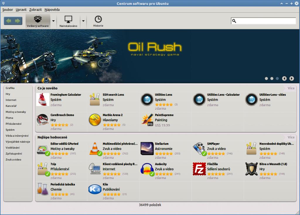 Centrum softwaru v XUbuntu - správa softwaru