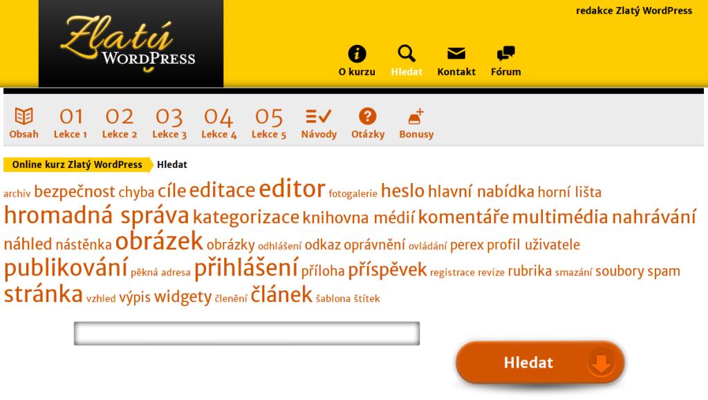 Zlatý WordPress - hledání v lekcích