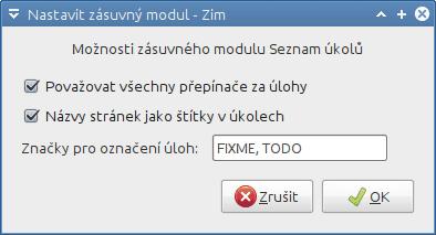 Zim - nastavení modulu Seznam úkolů