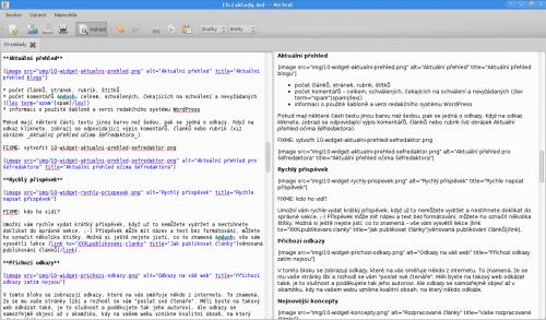 Vlevo kód Markdownu, vpravo rychlý HTML náhled